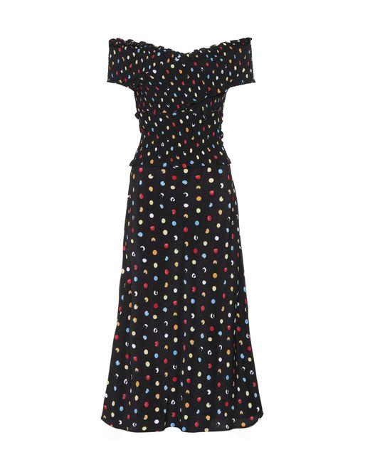 Anna October - Black Polka Dot Off The Shoulder Dress - Lyst