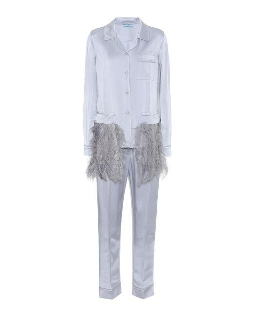 9c3d1fea98a56 Prada - Multicolor Feather-trimmed Satin Pyjamas - Lyst ...