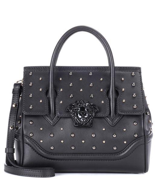 ec5a61e10c Versace - Black City Stud Palazzo Empire Leather Tote - Lyst ...