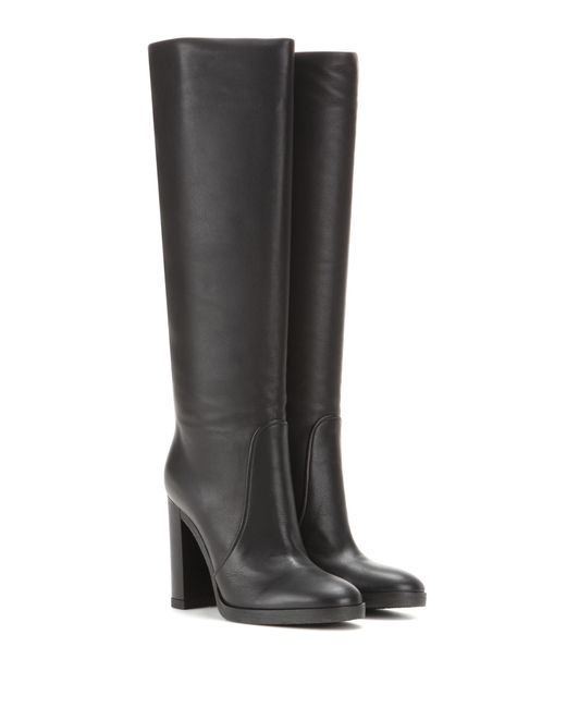 Gianvito Rossi - Black Vermont Leather Knee-High Boots - Lyst