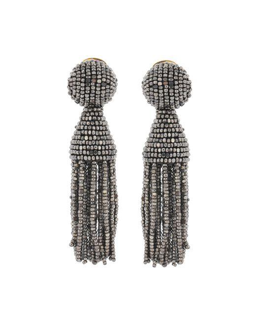 Oscar de la Renta | Gray Beaded Tassel Earrings | Lyst