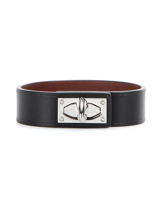 Givenchy - Black Shark Tooth Leather Bracelet - Lyst