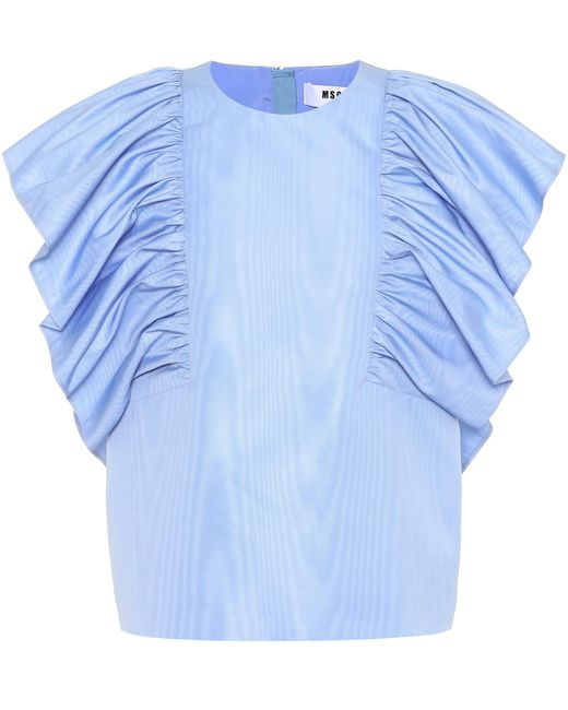 MSGM - Blue Sleeveless Top - Lyst