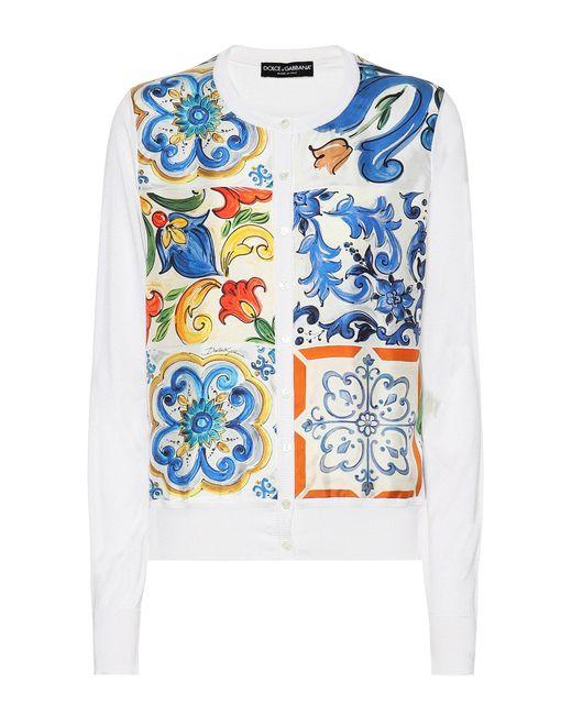 Dolce & Gabbana - White Printed Silk Cardigan - Lyst