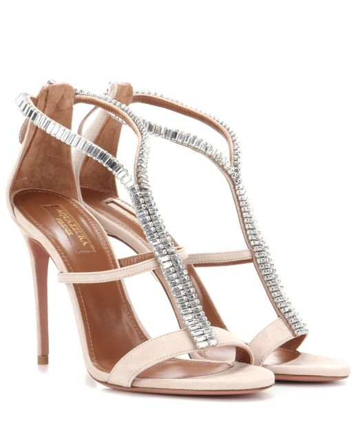 Aquazzura | Natural Constance 105 Crystal-embellished Suede Sandals | Lyst