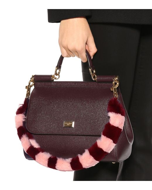 ... Lyst Dolce   Gabbana - Multicolor Striped Fur And Leather Bag Strap ... 60b67b023c78c