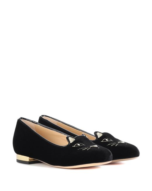 Charlotte Olympia - Black Incy Kitty Flat Velvet Loafers - Lyst