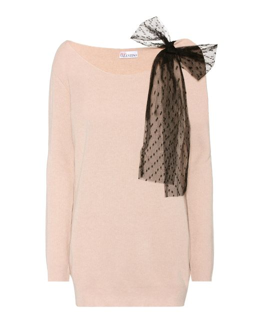 RED Valentino - Pink Wool, Angora And Cashmere Blend Sweater - Lyst