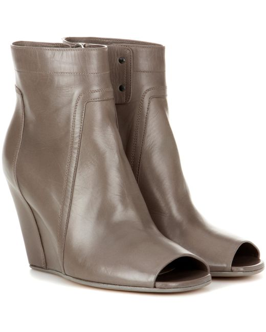 Rick Owens | Gray Leather Ankle Boots | Lyst