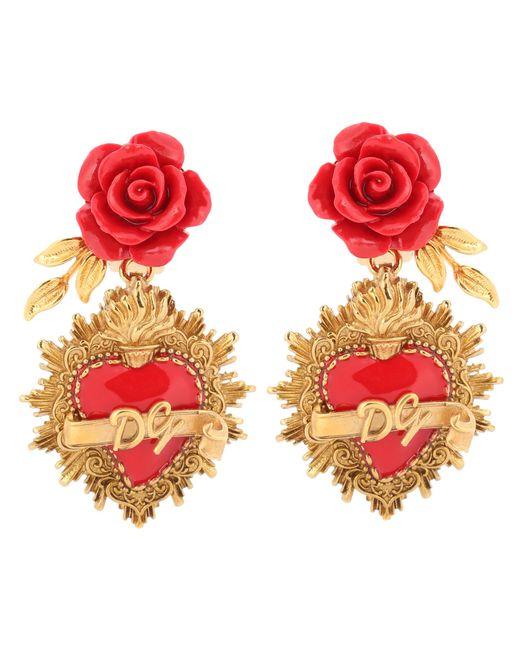 Dolce & Gabbana - Metallic Rose Clip-on Earrings - Lyst
