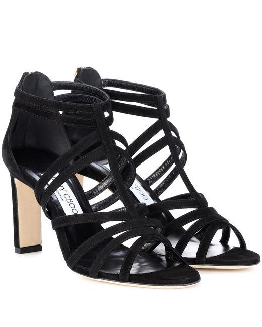 Jimmy Choo - Black Selina 85 Suede Sandals - Lyst