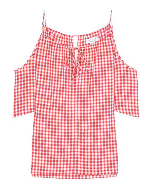 Velvet - Red Nedra Gingham Cold-shoulder Top - Lyst