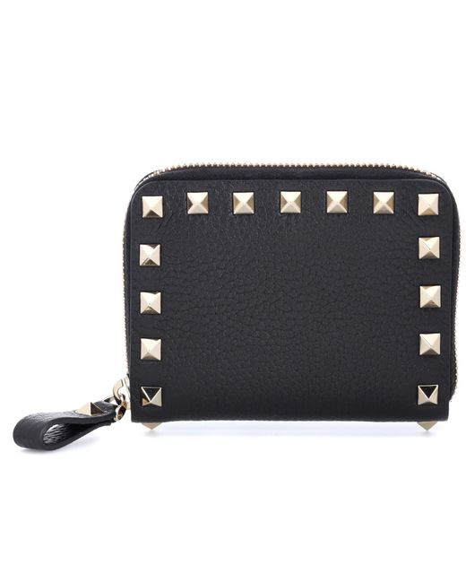 Valentino - Black Garavani Rockstud Leather Wallet - Lyst