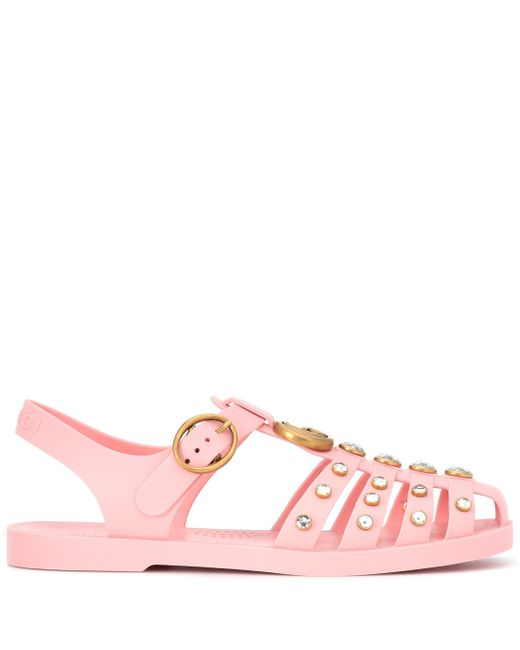 a78fff391fa3 ... Gucci - Pink Crystal-embellished Jelly Sandals - Lyst ...