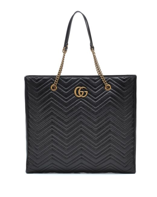 373fb8f090a Lyst - Gucci Gg Marmont Leather Tote Bag in Black - Save 24%