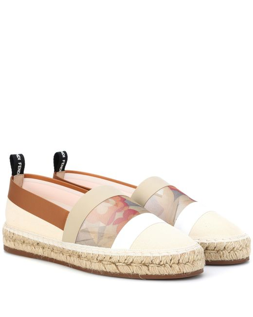Fendi - Pink Canvas And Mesh Espadrilles - Lyst