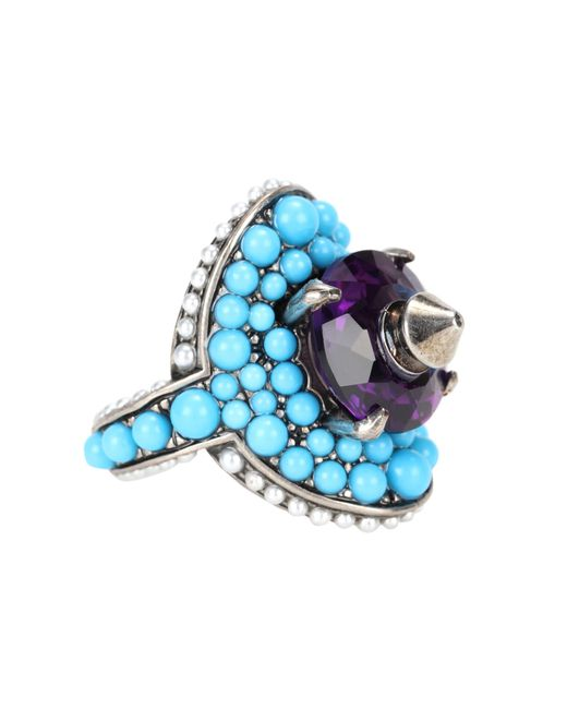 Gucci - Blue Crystal And Bead-embellished Ring - Lyst