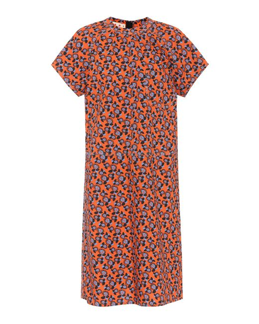 Marni - Red Floral Printed Cotton Dress - Lyst
