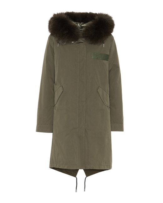 Army by Yves Salomon - Green Fur-trimmed Cotton Anorak - Lyst