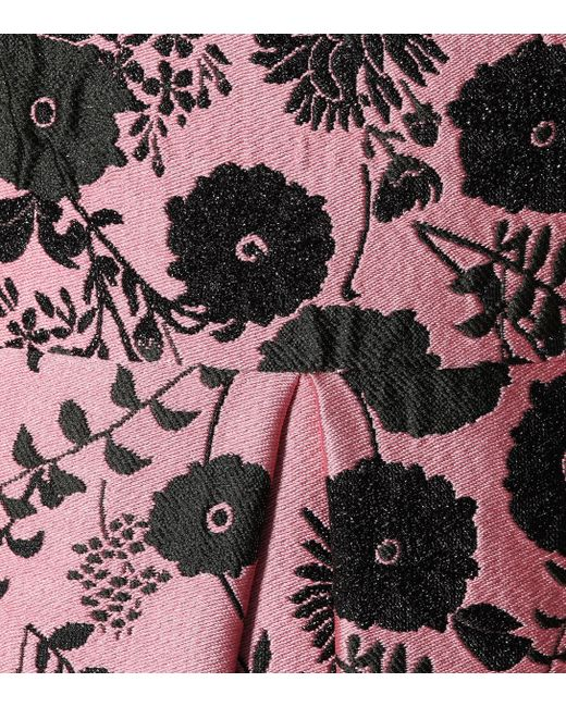 lyst erdem indra floral brocade dress in pink