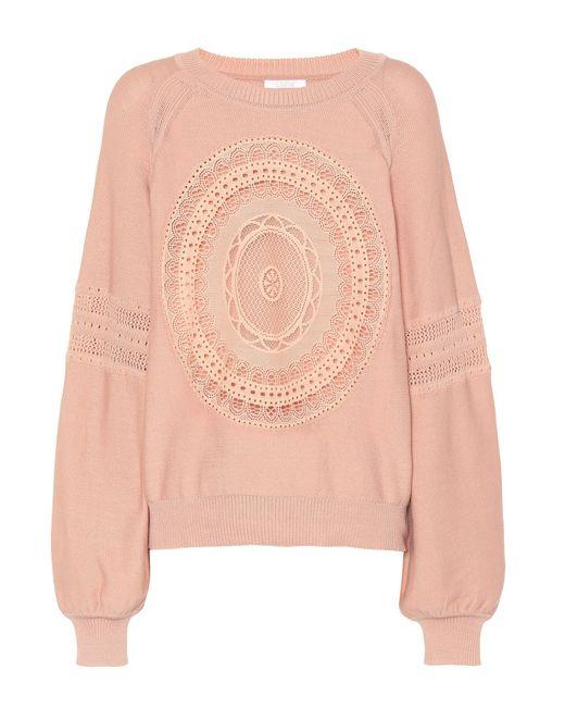 Chloé - Pink Cotton-blend Sweater - Lyst
