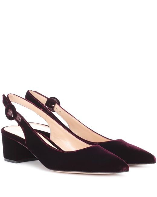 Gianvito Rossi - Red Exclusive To Mytheresa. Com – Amee Velvet Slingback Pumps - Lyst