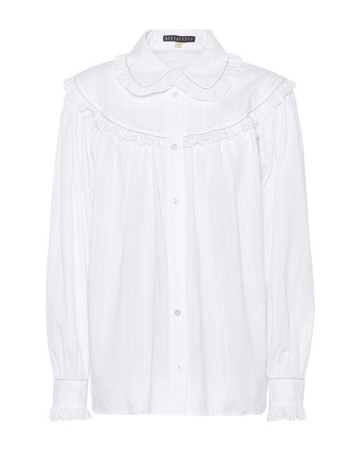 AlexaChung - White Ruffle-trimmed Cotton Shirt - Lyst