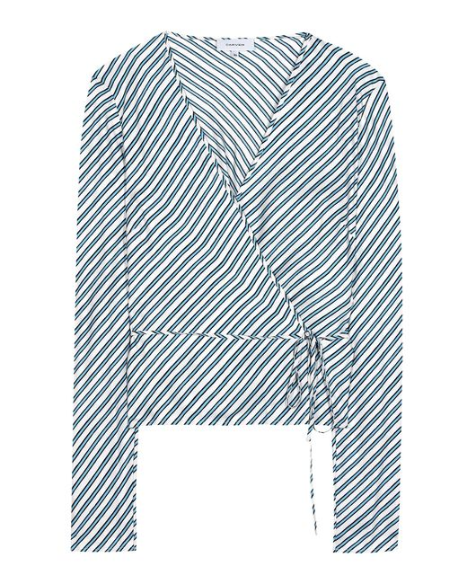 Carven | Blue Striped Silk Blouse | Lyst