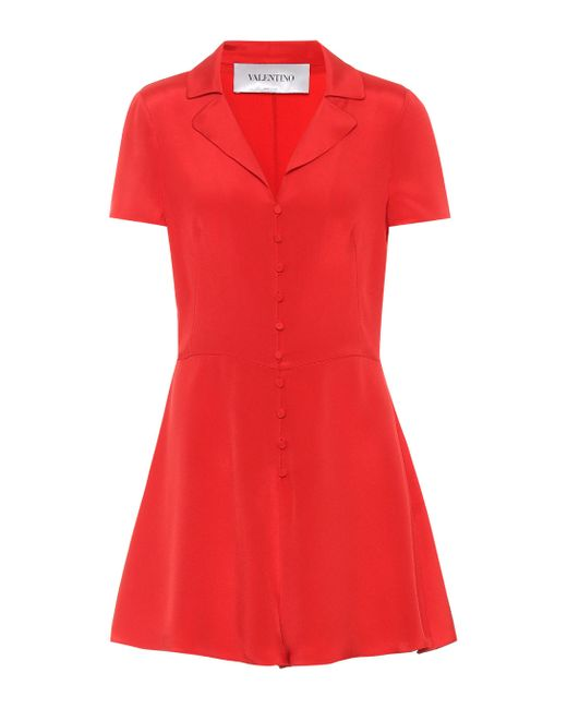 Valentino - Red Silk Playsuit - Lyst