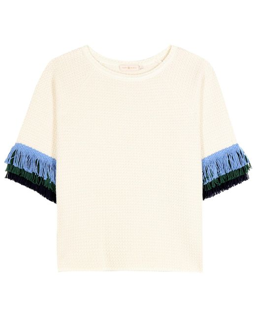 Tory Burch - White Kingston Wool And Cotton Sweater - Lyst