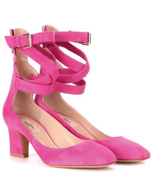 Valentino - Pink Suede Pumps - Lyst