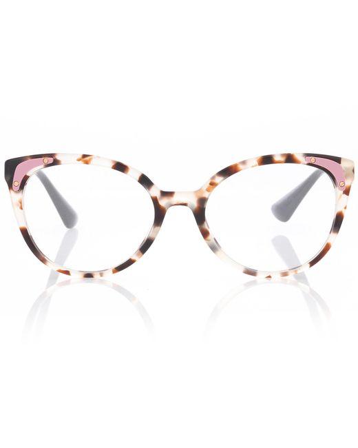 Prada - Brown Tortoiseshell Cat-eye Glasses - Lyst