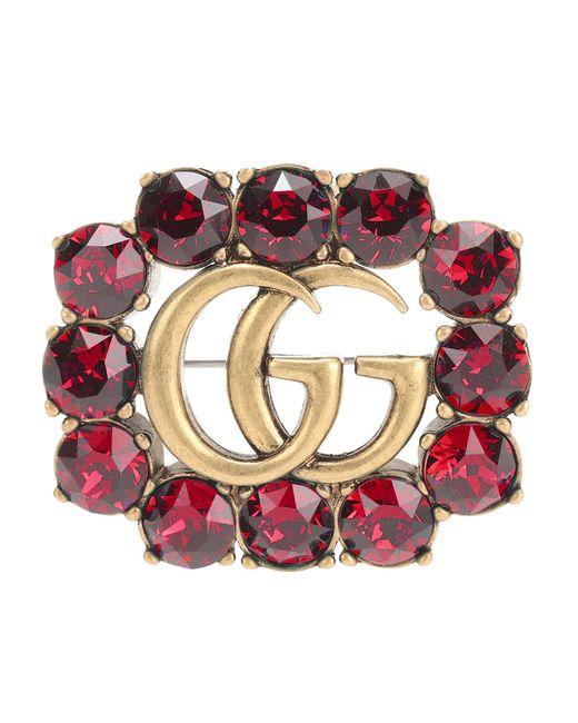 Gucci - Metallic Crystal-embellished Brooch - Lyst