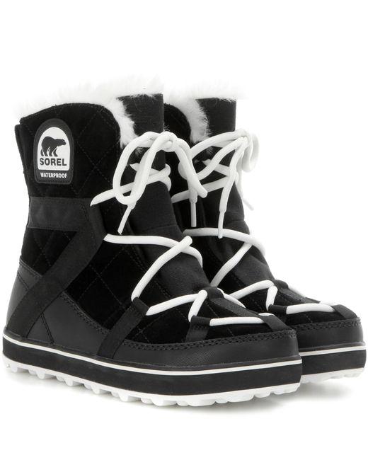 Sorel - Black Glacy Explorer Shortie Suede Boots - Lyst