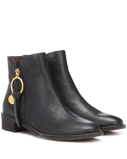 See By Chloé - Black Louise Flat Leather Ankle Boots - Lyst