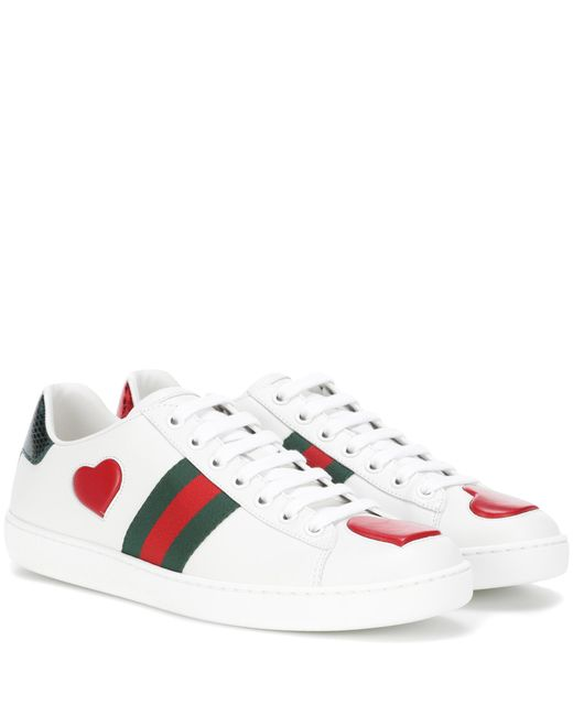 Gucci - White Snakeskin-trimmed Leather Sneakers - Lyst