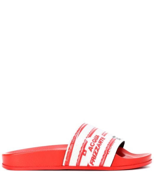 b0c0dc039f6495 Lyst - Vetements Water Bottle-print Slides in Red - Save 59%