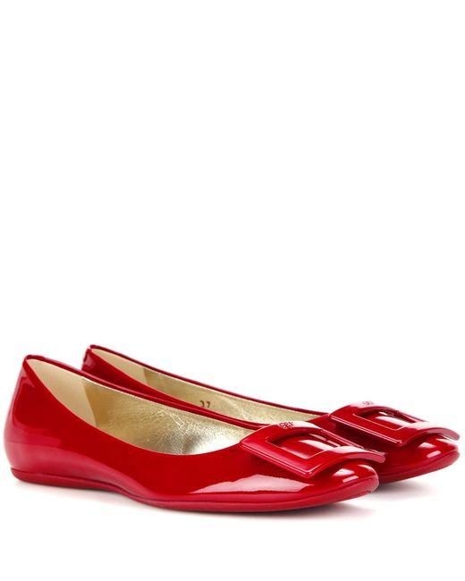 Roger Vivier | Red Gommette Patent Leather Ballerinas | Lyst