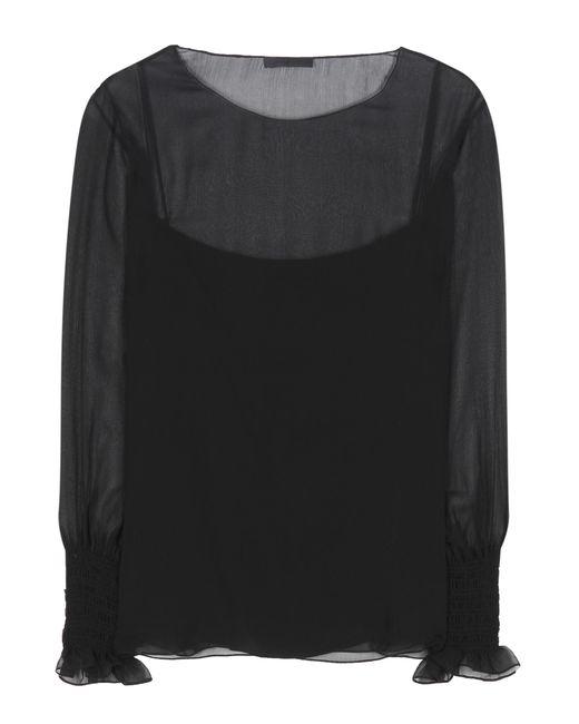 The Row   Black Laver Silk Top   Lyst