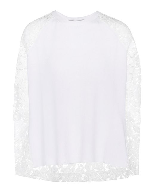 Valentino - White Lace-panelled Wool And Cashmere Sweater - Lyst