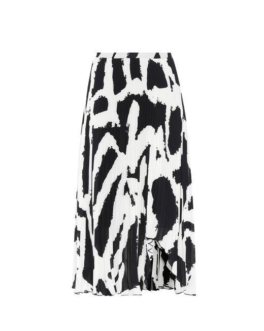 Proenza Schouler - Black Printed Plissé Midi Skirt - Lyst