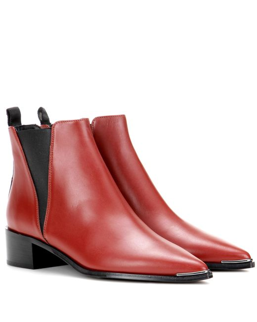 Acne - Red Jensen Leather Ankle Boots - Lyst