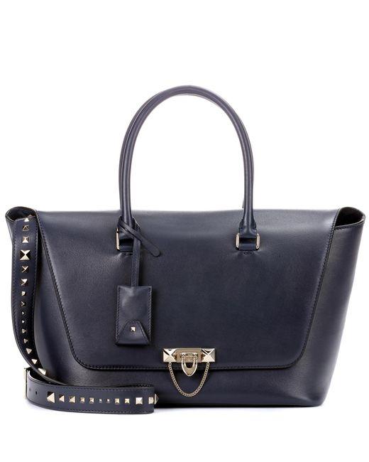 Valentino - Blue Garavani Demilune Double Handle Leather Shoulder Bag - Lyst