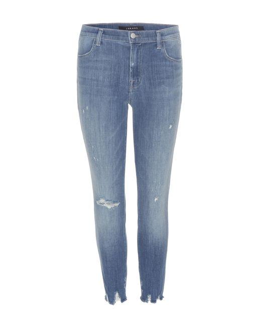 J Brand - Blue Cropped Jeans Raw aus Stretchdenim - Lyst