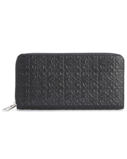 Loewe - Black Zip Around Leather Wallet - Lyst