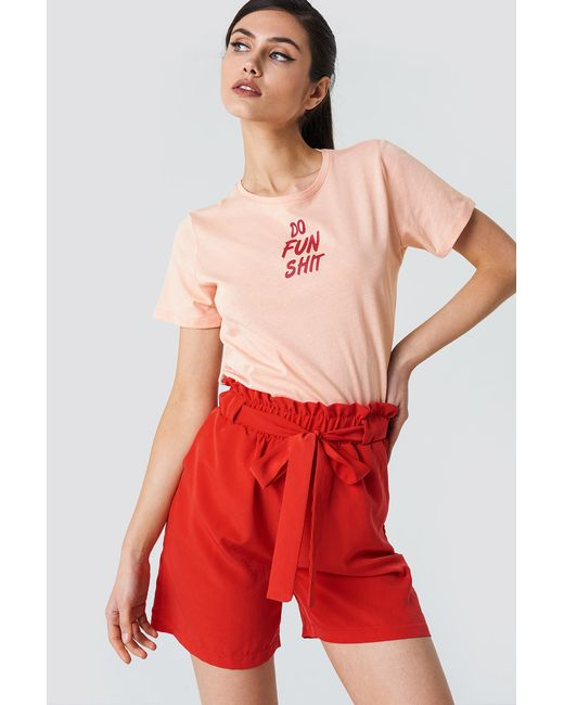 NA-KD - Do Fun Shit Tee Dusty Light Pink - Lyst