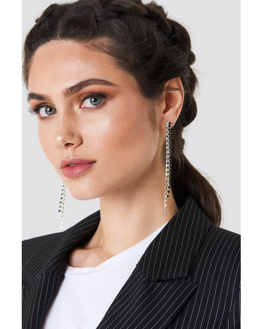 NA-KD - Black Two Color Hanging Rhinestone Earrings - Lyst