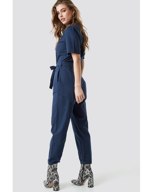 Jumpsuit Kd Navy Na Button Sleeve Short Up Lyst Blue In aY7xwW7