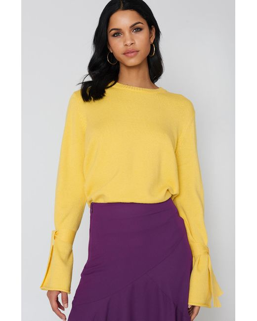 NA-KD Tied Sleeve Knitted Sweater Yellow