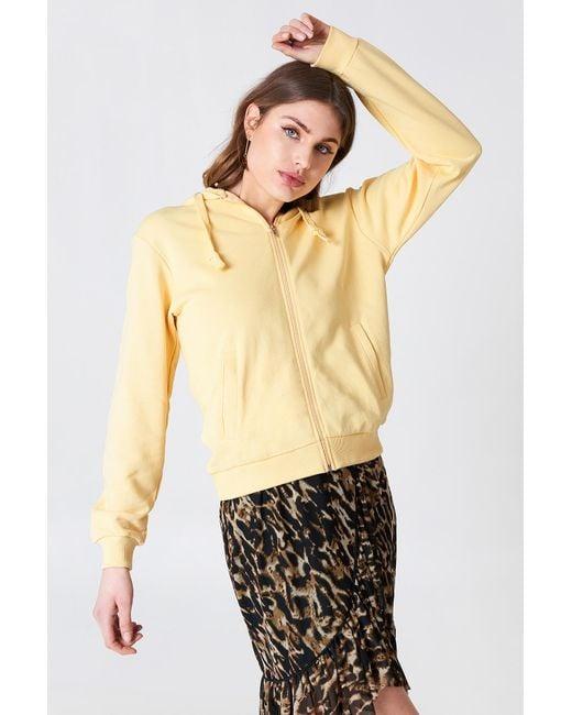 NA-KD - Yellow Basic Zipped Hoodie - Lyst